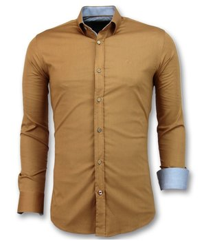 Gentile Bellini Italian Blank Shirts Men - Slim Fit Model - 3033 - Brown