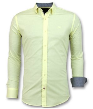 Gentile Bellini Men's Italian Blank Blouse - Long Sleeve Shirt - 3035 - Yellow