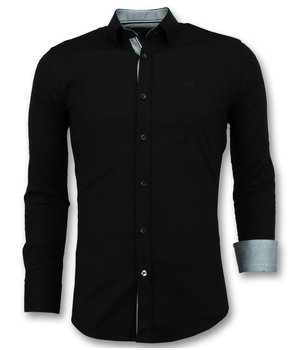 Gentile Bellini Men's Collar Shirts Plain - 3036 - Black