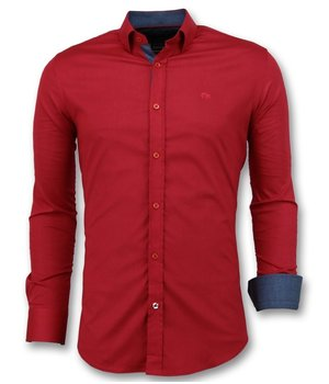 Gentile Bellini Men's Blank Shirts Italian - Slim Fit Blouse - 3037 - Red