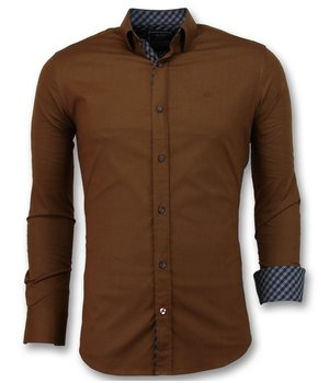 Gentile Bellini Men's Blank Shirts Italian - Extra Slim Fit Blouse - 3038 - Brown
