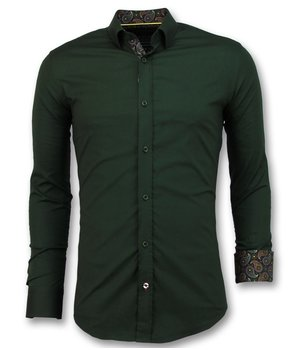 Gentile Bellini Business Shirts Men - Blanco Blouse Slim Fit - 3039 - Green