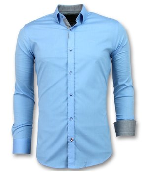 Gentile Bellini Men's Collar Shirts Plain - 3040 - Light Blue