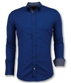Gentile Bellini Men Slim Fit Shirts - Blank Blouse Business - 3041 - Blue