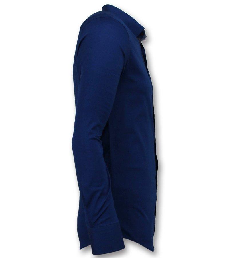 Gentile Bellini Men Slim Fit Shirts - Blank Blouse Business - 3041 - Blue