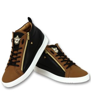 Cash Money Men's Sneaker -  Bee Camel Black Gold High - CMS98 - Brown
