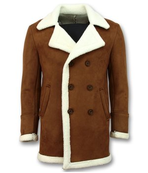 Frilivin Imitation Fur Coat For Men - Lammy Coat Long - Brown