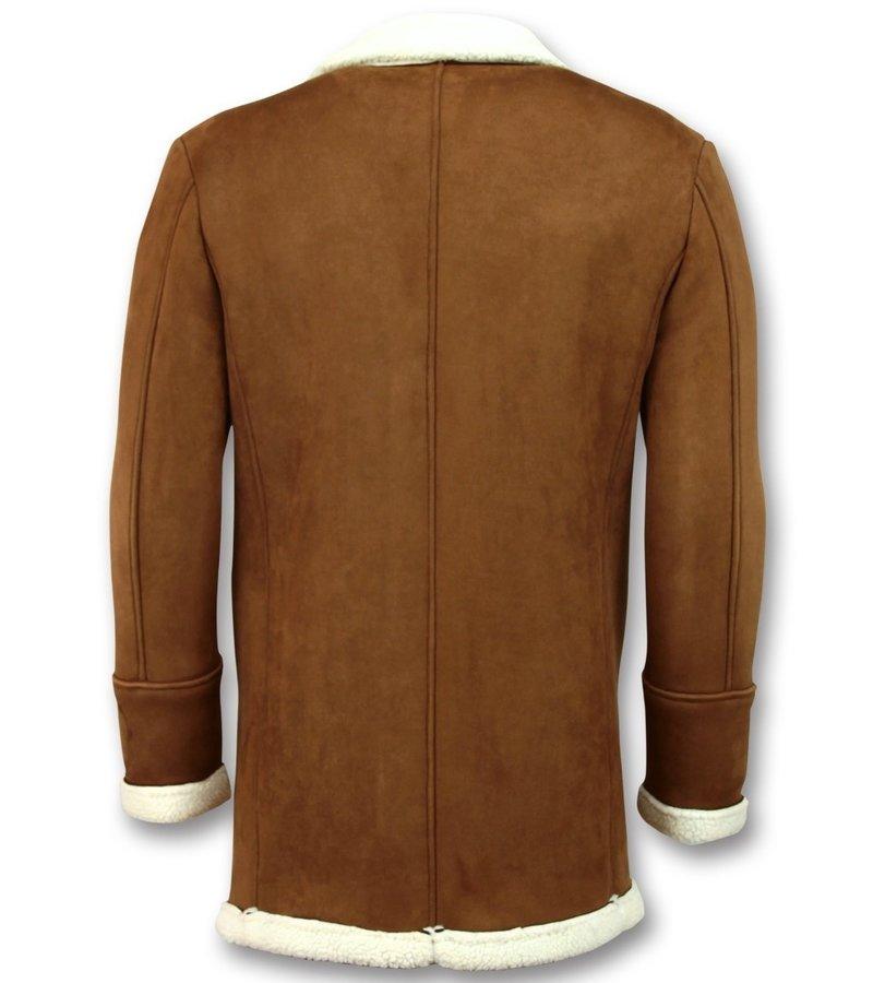 Frilivin Imitation Fur Coat For Men - Lammy Coat Long - Brown