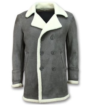 Frilivin Imitation Fur Coat Long - Lammy Coat Jacket Men - Gray