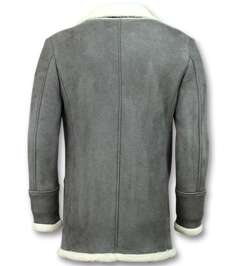 Frilivin Imitation Fur Coat Long - Lammy Coat Jacket Men - Gray