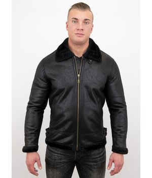 Tony Backer Shearling Jacket - Lammy Coat For Men - Black