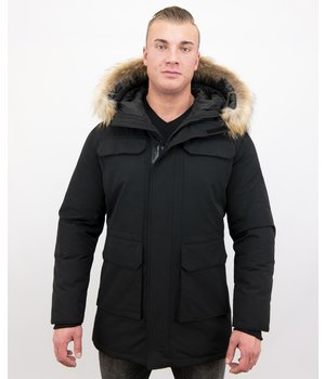 Enos Men Parka Whiter Coat Long - Black