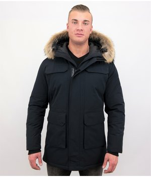 Enos Men Parka Whiter Coat Long - Blue