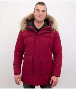 Enos Parka Men's Winter Jacket with Large Real Fur Collar - Jacket Men - Red