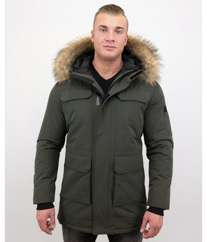 Enos Winter Jacket Men Parka with Large Real Fur Collar - Men Jacket -  Green
