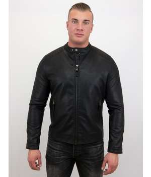 Enos Men Biker Leather Jacket  - Black