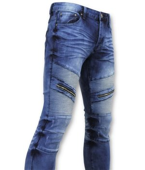 New Stone Zip Biker Jeans Ribbed - 3023 - Blue