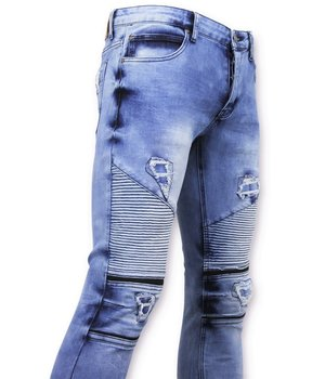 New Stone Ripped Biker Jeans Skinny - 3020-16 - Blue