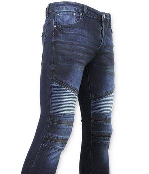 New Stone Men's Biker Jeans - Skinny Jeans - 3026 - Blue