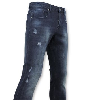True Rise  - D&Co Basic Ripped Jeans For Men - D-3017 - Blue