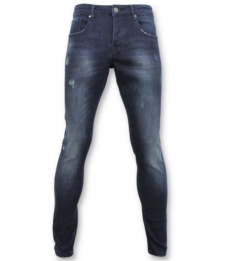 True Rise  - D&Co Basic Ripped Jeans For Men - D-3017 - Blue