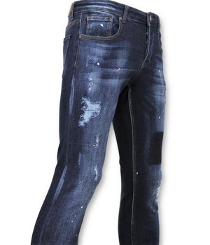 True Rise  - D&Co Ripped Men Jean With Paint Drip - D2432 - Blue