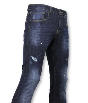True Rise  - D&Co Basic Pants Men - Jeans With Paint Stains - D3068 - Blue
