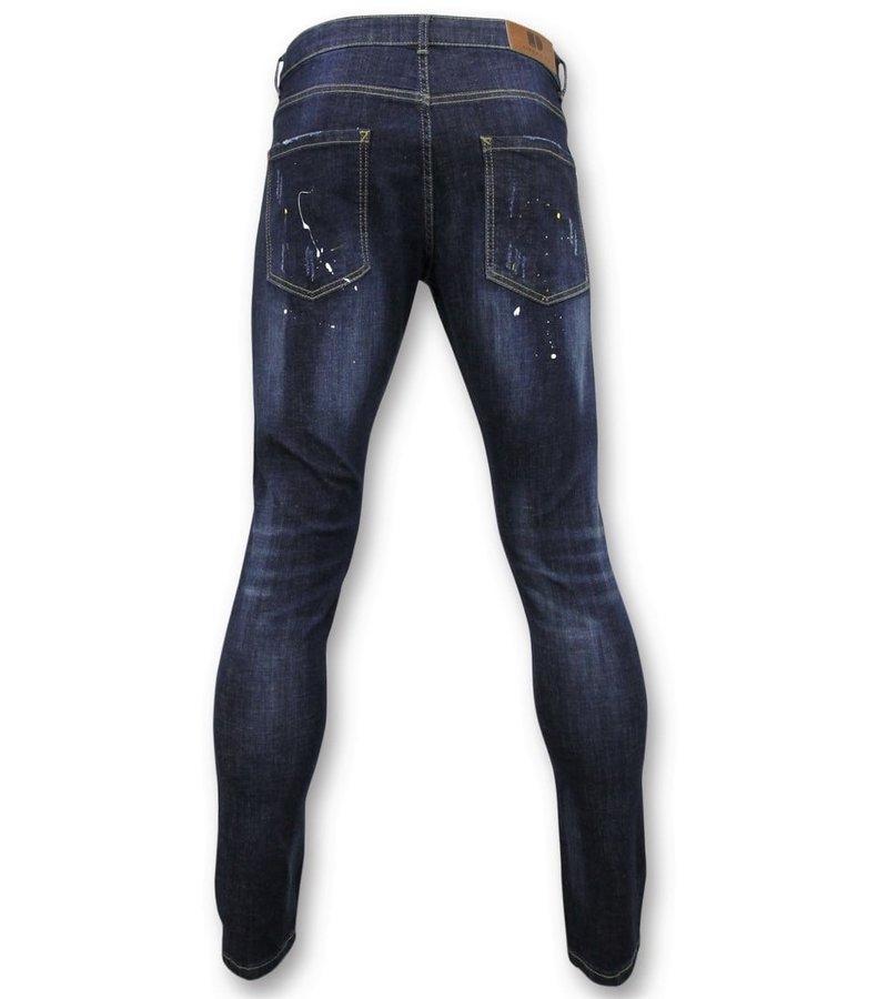 True Rise  - D&Co Basic Pants Men - Jeans With Paint Stains - D3068 - Blue