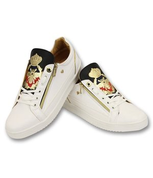 Cash Money Prince White Black Men Trainers - CMS97 - White