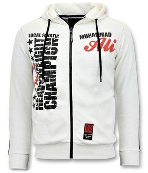 Local Fanatic Muhammad Ali Champion Zip Hoodie - White