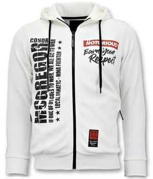 Local Fanatic Conor Mcgregor Printed Zip Hoodie - White