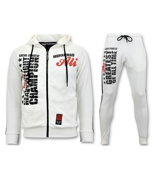 Local Fanatic Muhammad Ali Printed Tracksuit Set - White