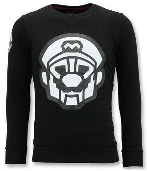Local Fanatic Mario Printed Sweatshirt Men - Black