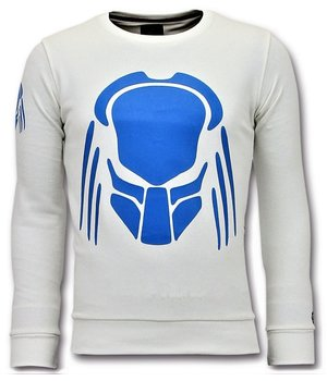 Local Fanatic Sweater Men - Predator Neon Print - White