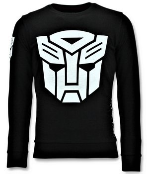 Local Fanatic Men's Sweater - Transformers Print - Black