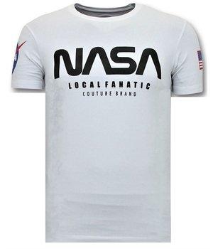 Local Fanatic T-shirt Men with Print - Nasa American Flag Shirt - White
