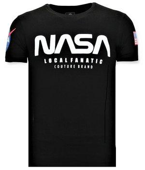 Local Fanatic Printed T-shirt Men - NASA American Flag Shirt - Black