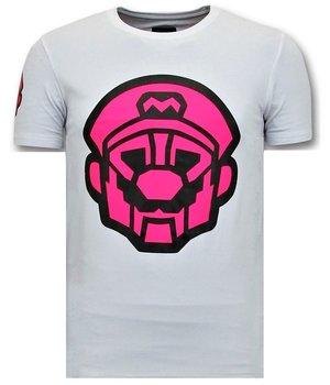 Local Fanatic Mario Printed T Shirt For Men - White