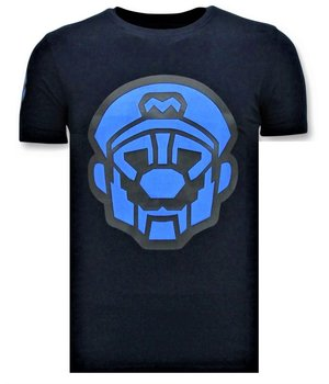 Local Fanatic Men's T shirts with Print - Mario Neon Print - Blue