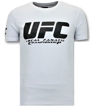 Local Fanatic Men's T shirts with Print - UFC Championship Basic - White