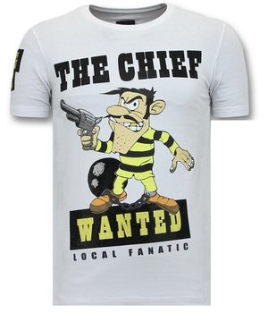 Local Fanatic The Chief Wanted Printed Men T Shirt - White