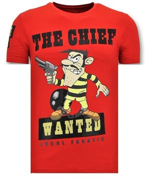 Local Fanatic The Chief Wanted Printed Men T Shirt - Red