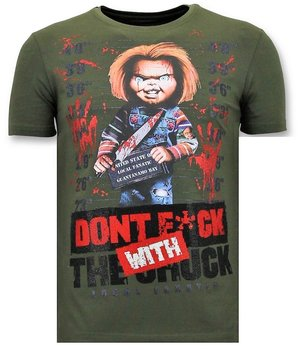 Local Fanatic Men Cool T-shirt - Bloody Chucky Angry - Green
