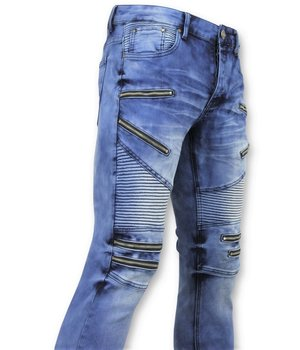 New Stone Men's Jeans - Biker Jeans with Zip - 3025 - Blue