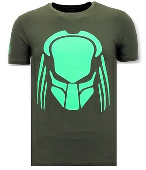 Local Fanatic T-shirt Men with Print - Predator Neon Print - Green