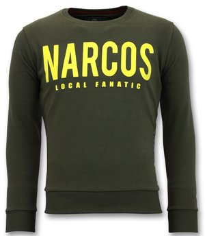 Local Fanatic Narcos Printed Sweater For Men - Green