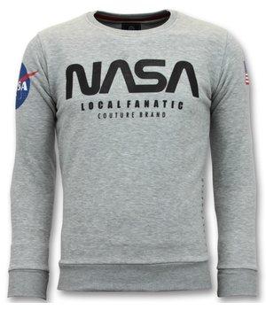 Local Fanatic Nasa American Flag Printed Sweatshirt - Grey