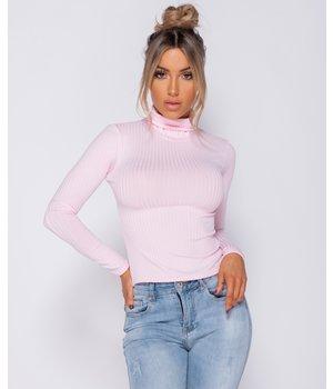 PARISIAN Rib Knit Polo Neck Long Sleeve Top -women - Pink