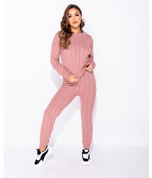 PARISIAN Cable Knit Long Sleeve Top and Leggings Set Lounge - Ladies - Pink