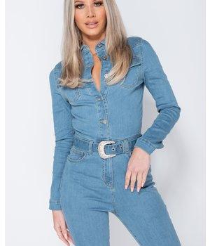 PARISIAN Western Belt Detail Long Sleeve Denim Jumpsuit - Women - Blue